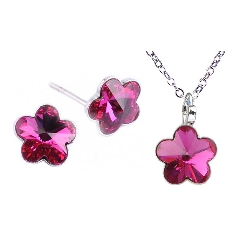 Dětská souprava šperků s krystaly Swarovski - tmavě růžové kytičky 10 mm