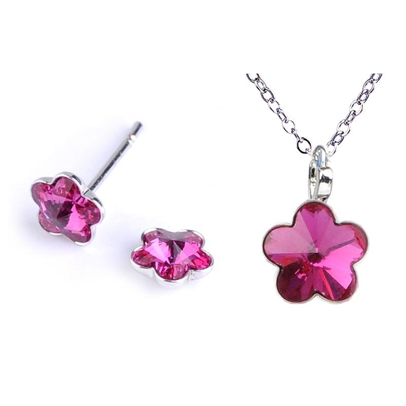 Dětská souprava šperků s krystaly Swarovski - tmavě růžové kytičky 10 mm a 6 mm