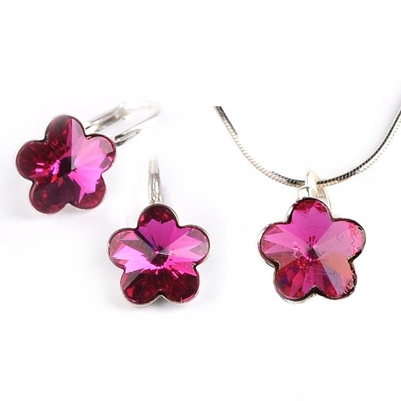 Dětská stříbrná souprava šperků s krystaly Swarovski - tmavě růžové kytičky 10 mm