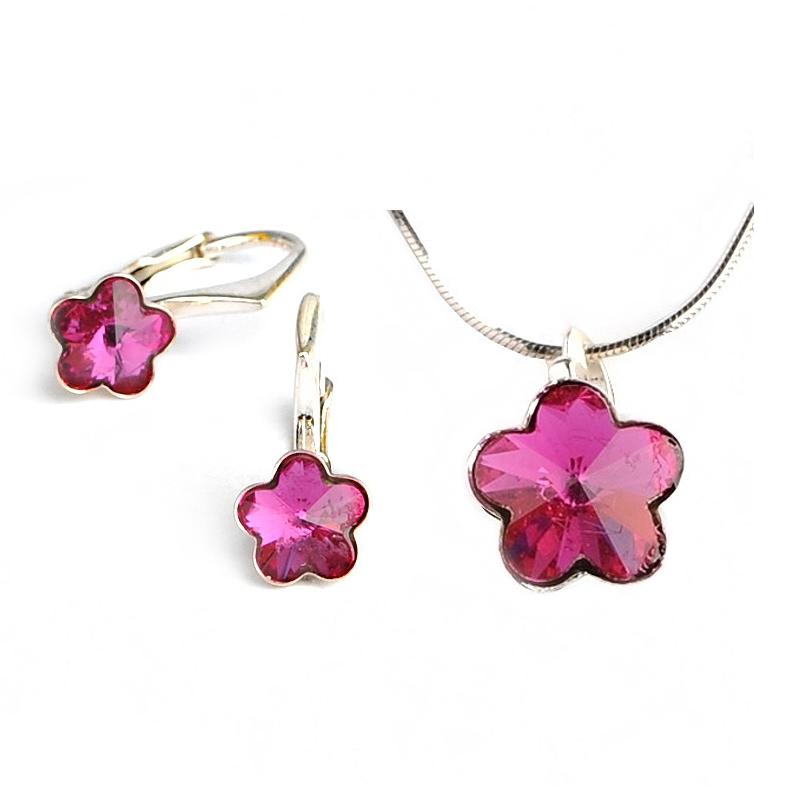 Dětská stříbrná souprava šperků s krystaly Swarovski - tmavě růžové kytičky 10 mm a 6 mm
