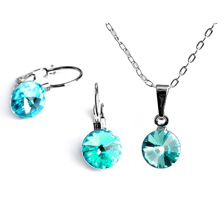 Dětská souprava šperků s krystaly Swarovski Rivoli - tyrkysová 8 mm