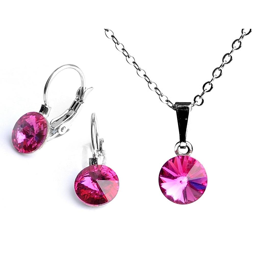 Dětská souprava šperků s krystaly Swarovski Rivoli - tmavě růžová 8 mm