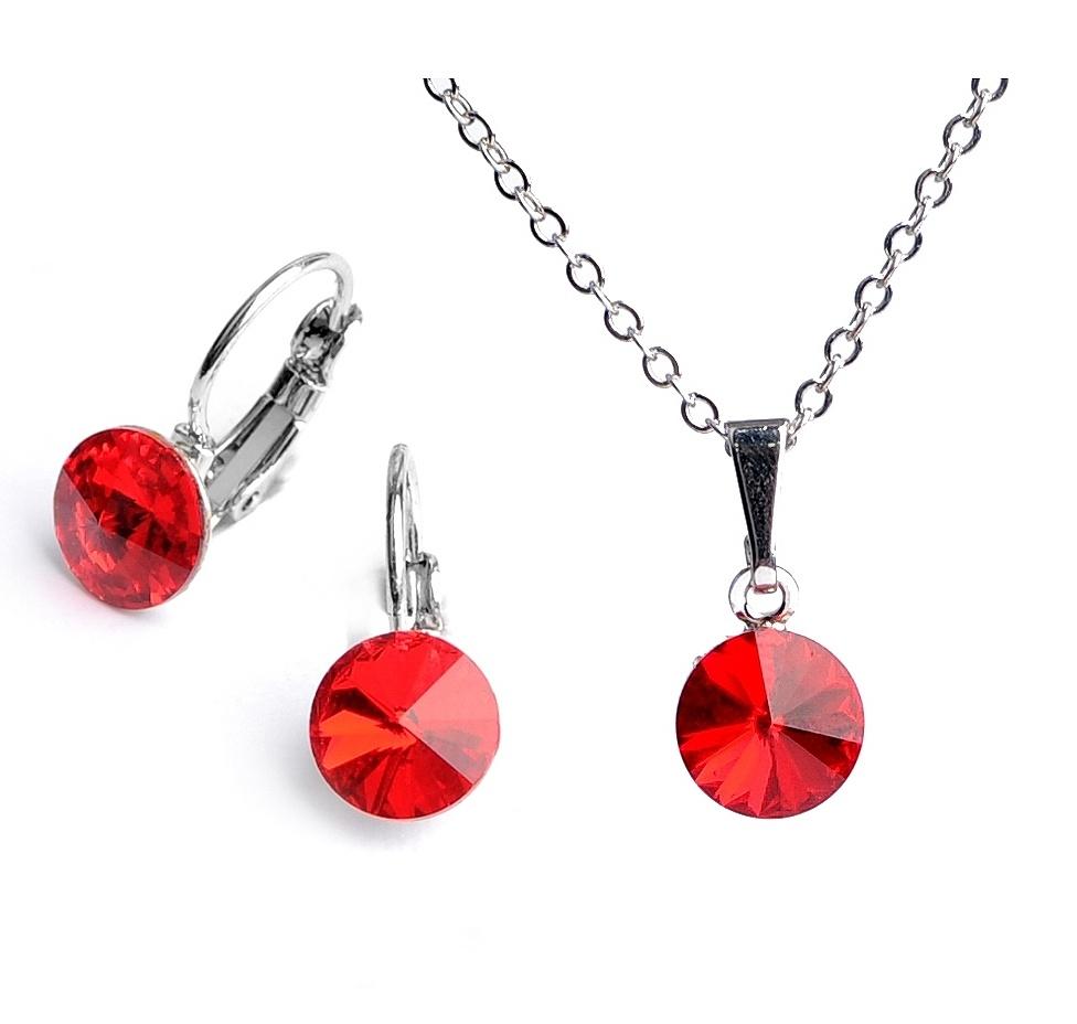 Dětská souprava šperků s krystaly Swarovski Rivoli - červená 8 mm