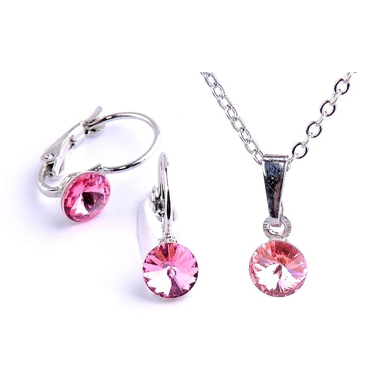 Dětská souprava šperků s krystaly Swarovski Rivoli - růžová 6 mm