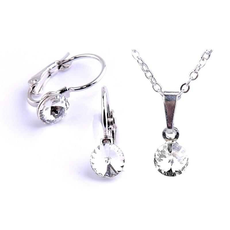 Dětská souprava šperků s krystaly Swarovski Rivoli - čirá 6 mm