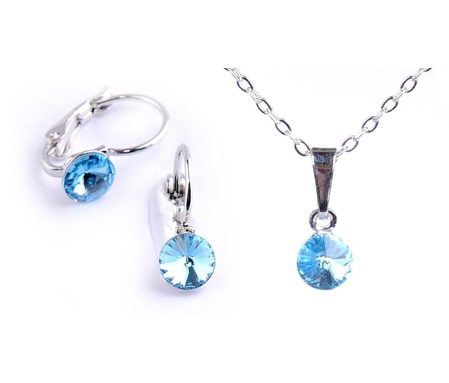 Dětská souprava šperků s krystaly Swarovski Rivoli - modrá 6 mm