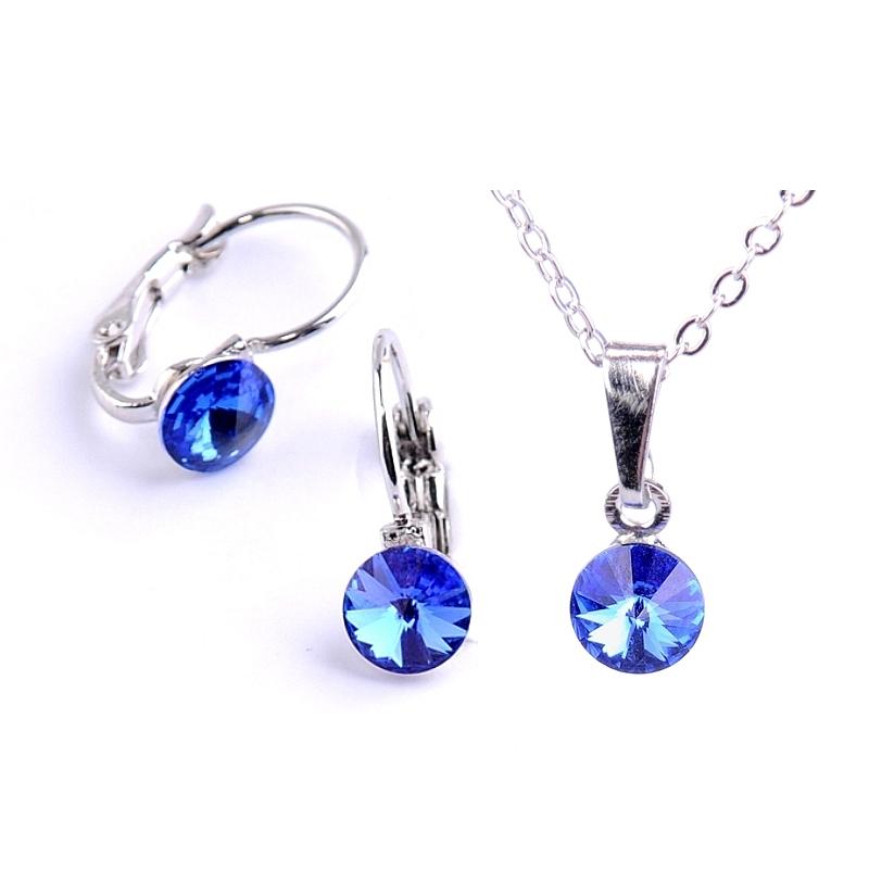 Dětská souprava šperků s krystaly Swarovski Rivoli - safírově modrá 6 mm