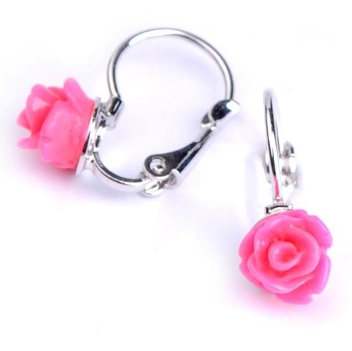 Dětské náušnice - růžové růžičky
