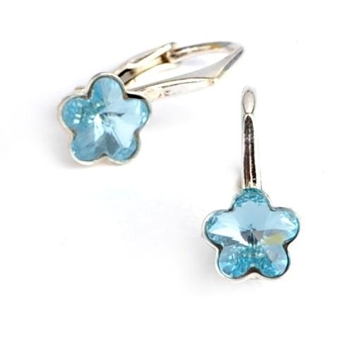 Dětské stříbrné náušnice Swarovski® elements - modré kytičky 5aca39fd485