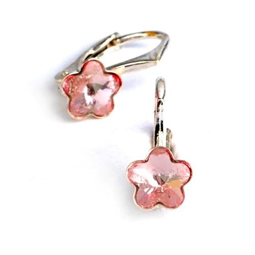Dětské stříbrné náušnice Swarovski® elements - světle růžové kytičky