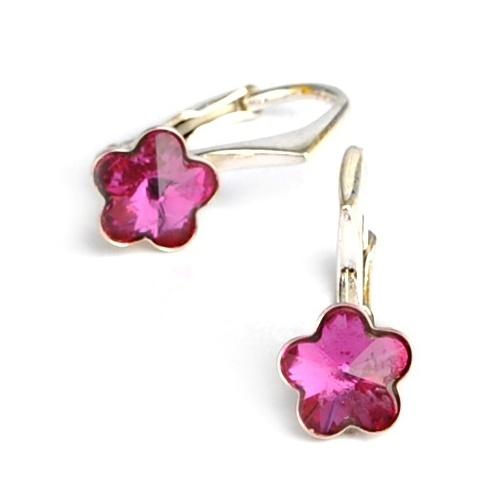 Dětské stříbrné náušnice Swarovski® elements - tmavě růžové kytičky