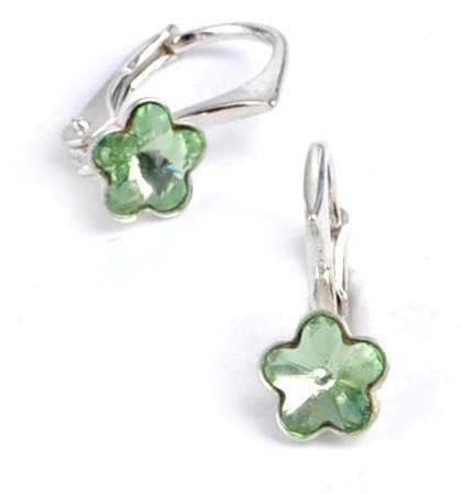 Dětské stříbrné náušnice Swarovski® elements - světle zelené kytičky