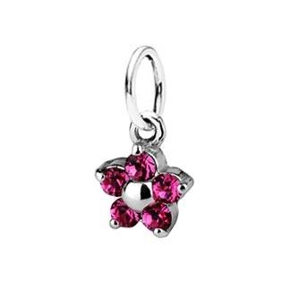 Dětský stříbrný přívěsek Swarovski® elements - růžová kytička
