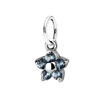 Dětský stříbrný přívěsek s akvamaríny - modrá kytička