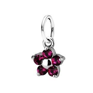 Dětský stříbrný přívěsek Swarovski® elements - tmavě růžová kytička