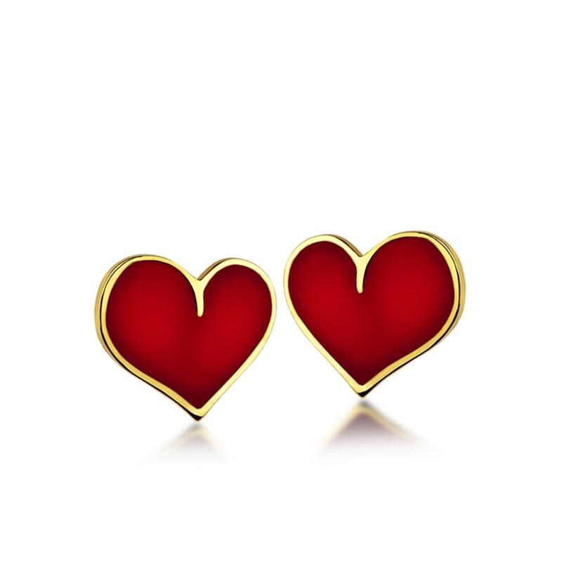 Dětské zlaté náušnice na šroubek s červeným smaltem - srdíčka