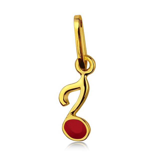 Zlatý dětský přívěsek smaltovaný - červená nota
