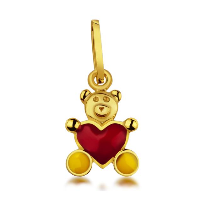 Dětský zlatý přívěsek smaltovaný - medvídek s červeným srdíčkem