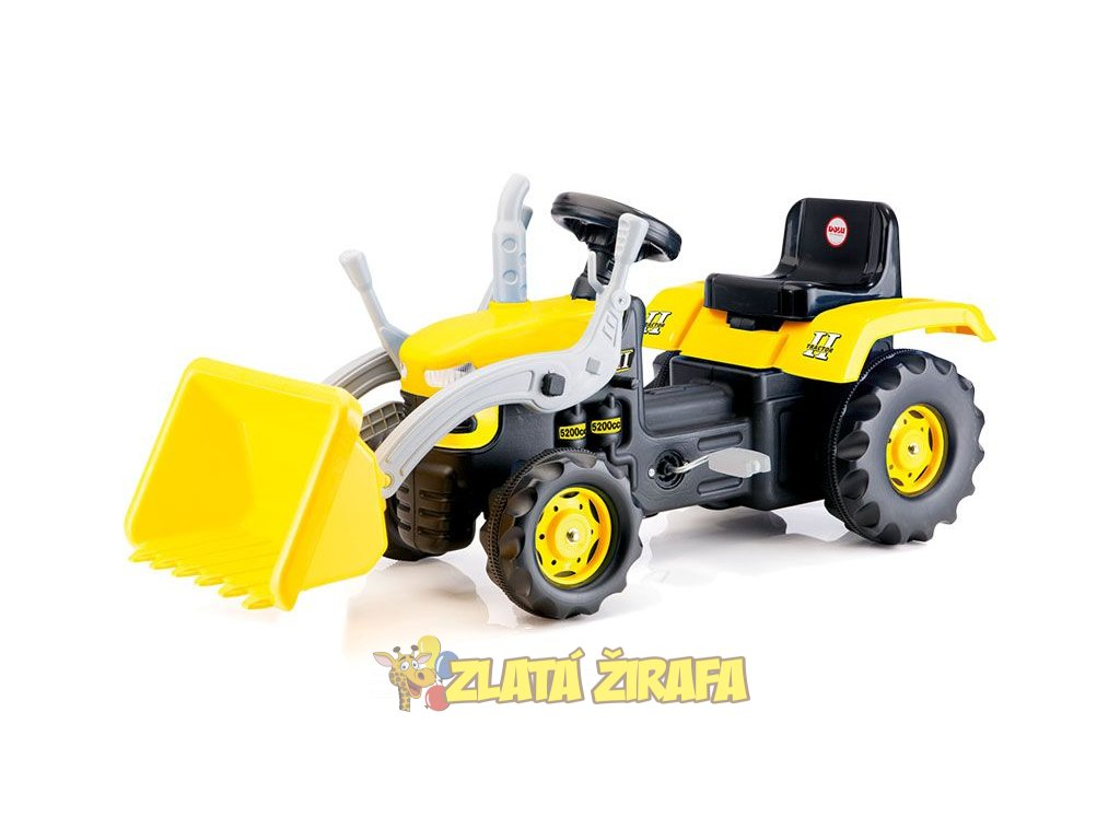 Velký šlapací traktor s rypadlem, žlutý  + DÁREK: SIKU - Zelený traktor + DÁREK: Tričko Spider-Man