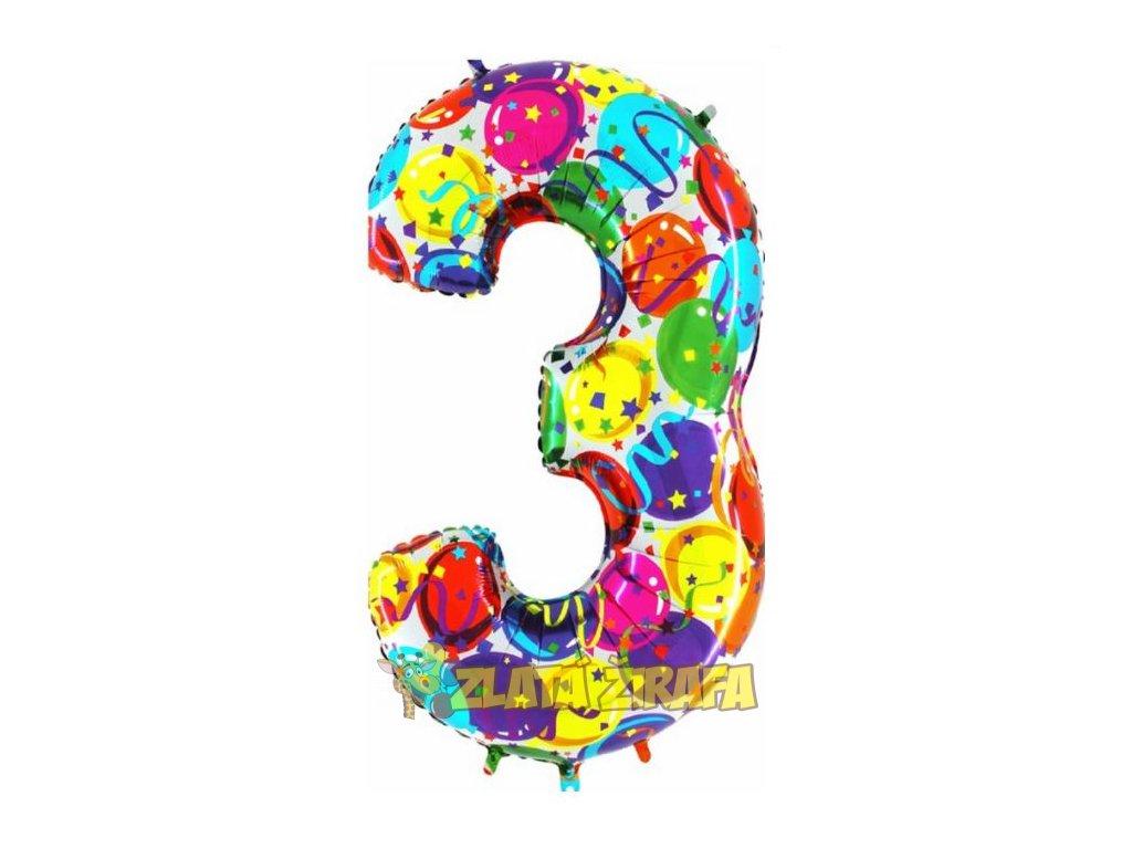 102cm balónek číslice 3 - barevná