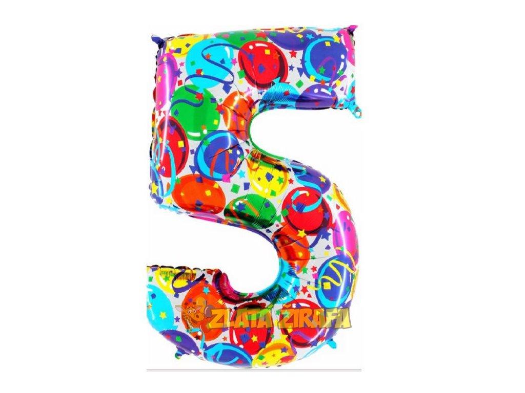 102cm balónek číslice 5 - barevná