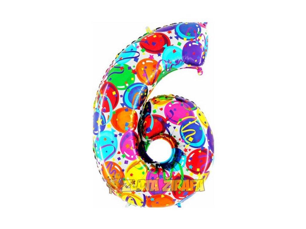 102cm balónek číslice 6 - barevná