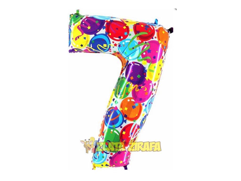 102cm balónek číslice 7 - barevná