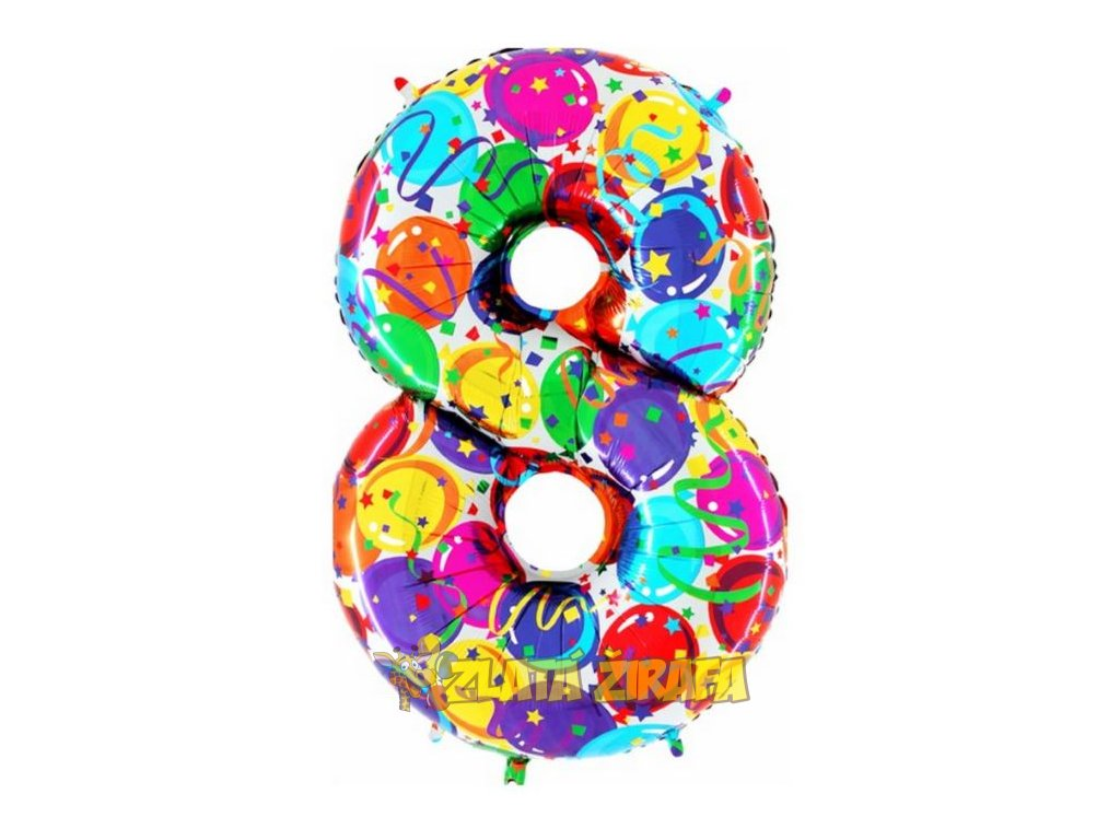 102cm balónek číslice 8 - barevná