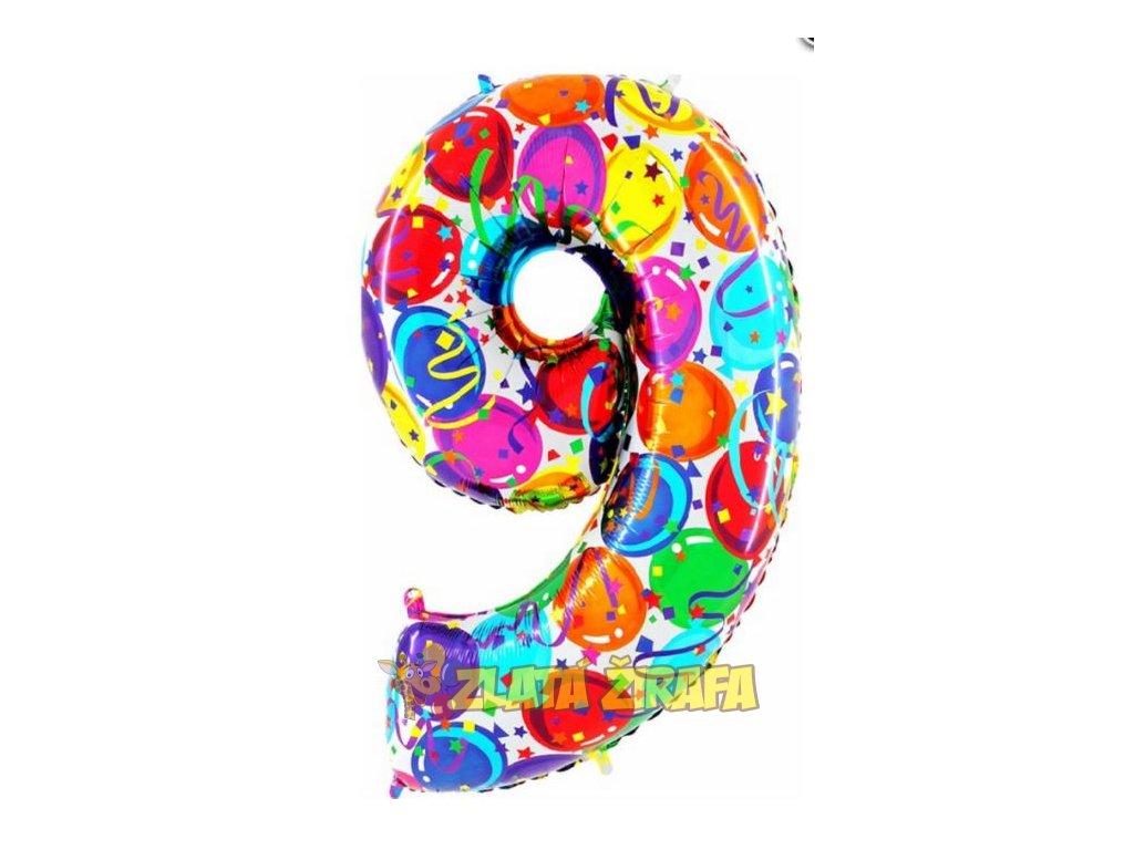 102cm balónek číslice 9 - barevná