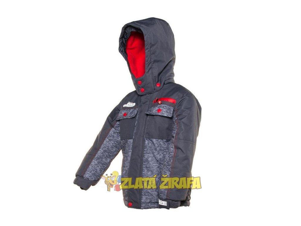 Bunda dětská zimní lyžařská šedo-červená