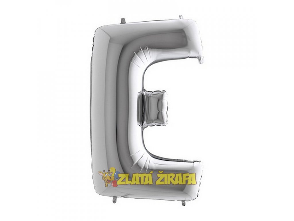 Balónek písmeno E - stříbrné 102cm