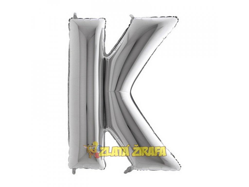 Balónek písmeno K - stříbrné 102cm