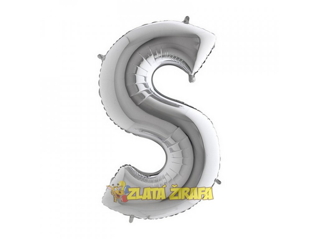 Balónek písmeno S - stříbrné 102cm