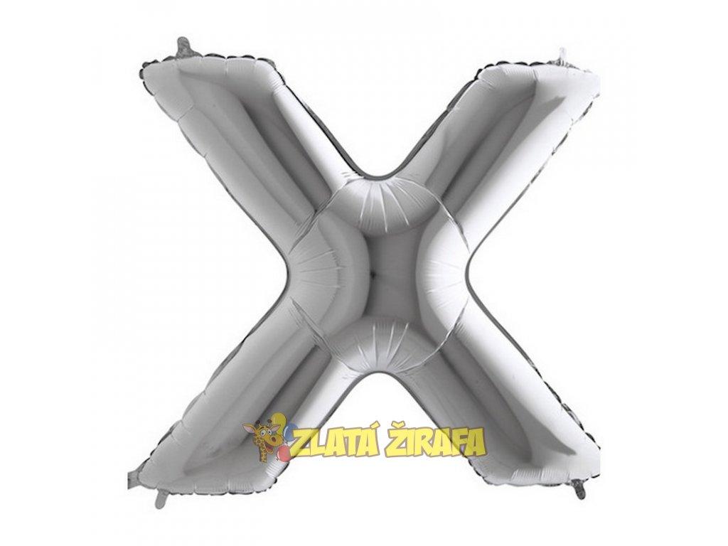 Balónek písmeno X - stříbrné 102cm