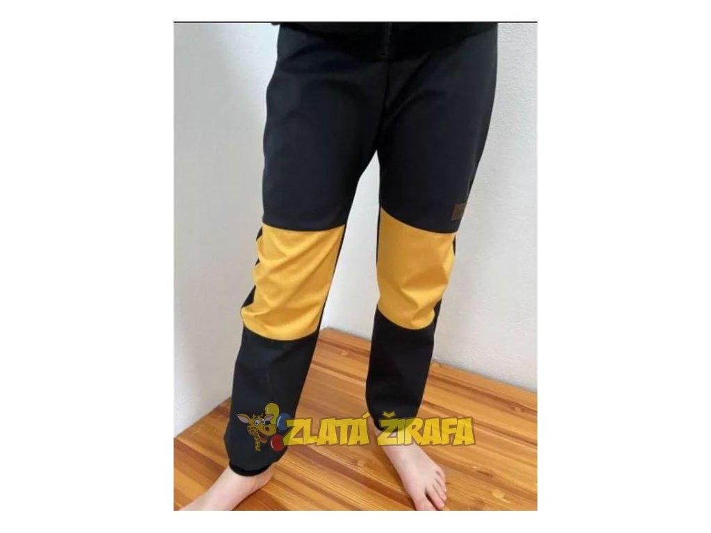 Jaro/podzim softshellové kalhoty ČERNÁ-OKR