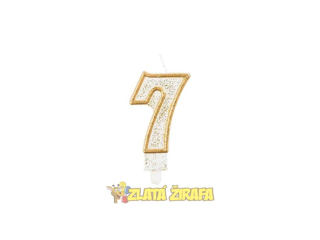 Svíčka dortová číslo 7 - zlatá