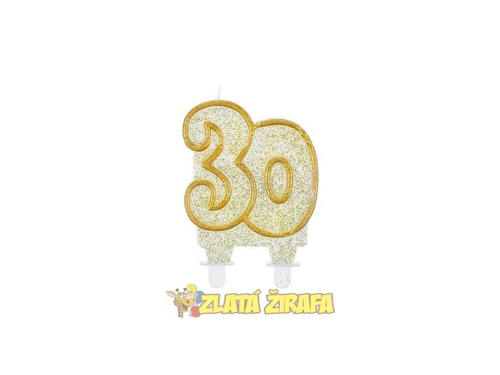 Svíčka dortová číslo 30 - zlatá