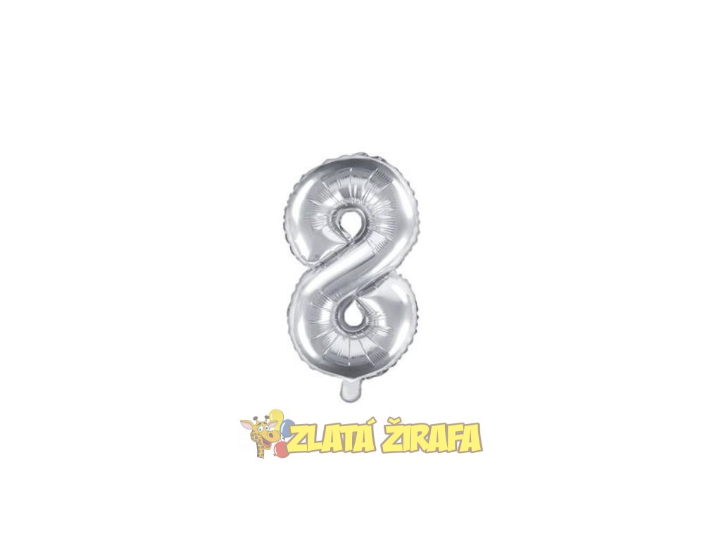 35cm balónek 8 - stříbrná