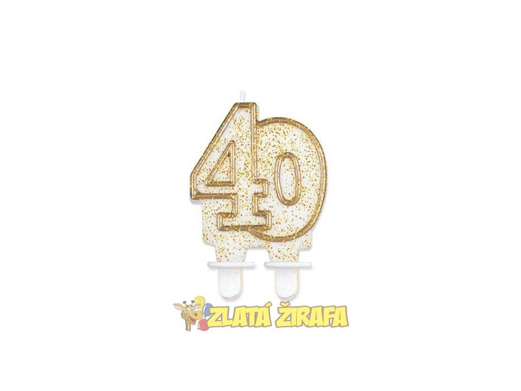 Svíčka dortová číslo 40 - zlatá