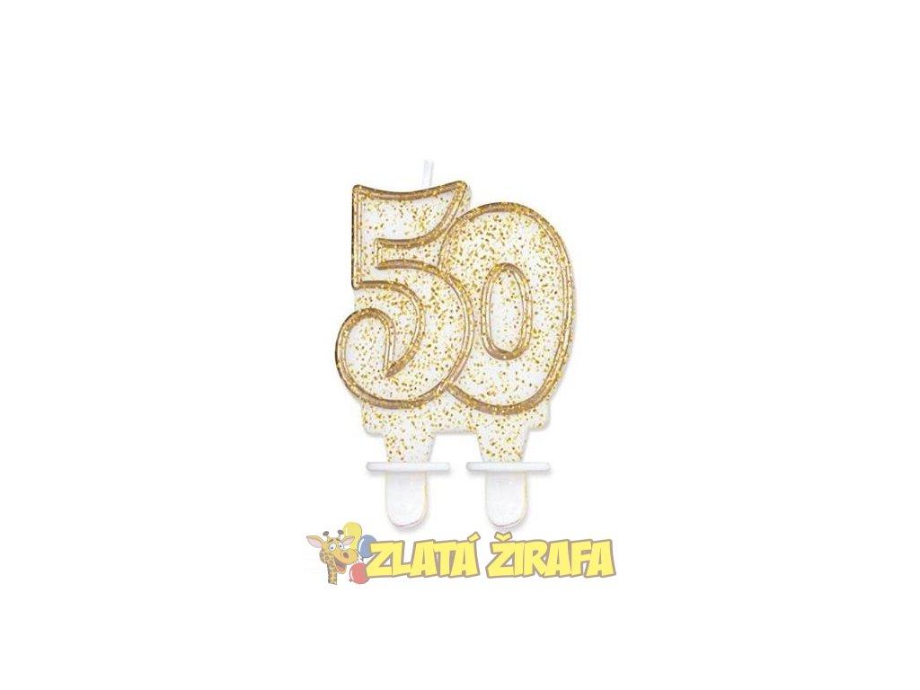 Svíčka dortová číslo 50 - zlatá