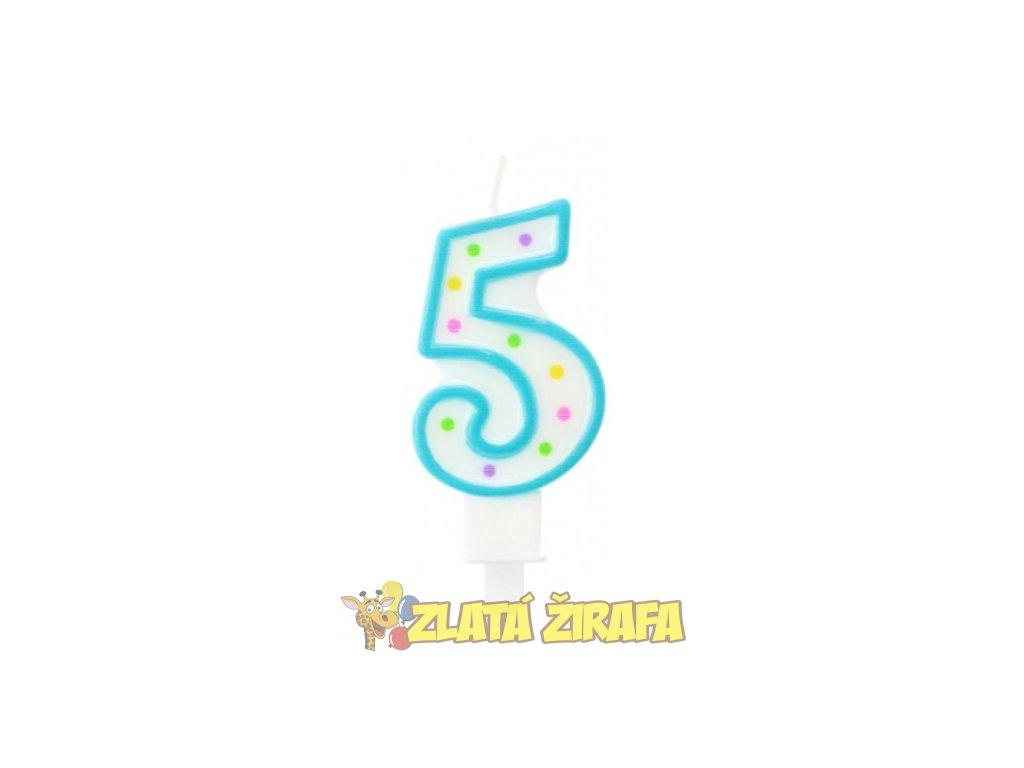 """Svíčka s puntíky na dort """"5"""""""