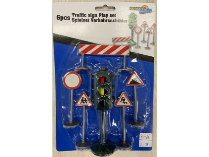 Semafor + dopravní značky herní set 6ks plast na kartě
