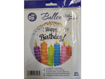 45cm balónek - Happy Birthday svíčky