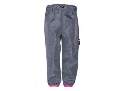 Jaro/podzim softshellové kalhoty šedá - růžová