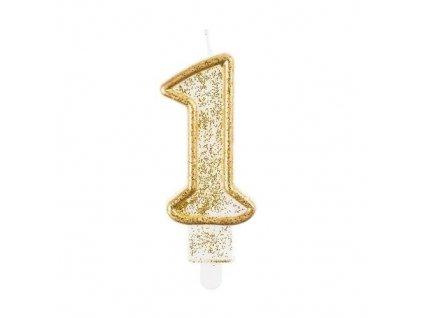 Svíčka dortová číslo 1 - zlatá