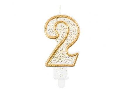 Svíčka dortová číslo 2 - zlatá