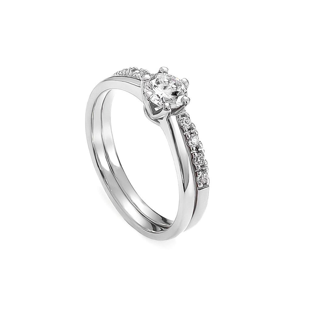 Zásnubný prsteň s bielymi zafírmi 0,75 ct