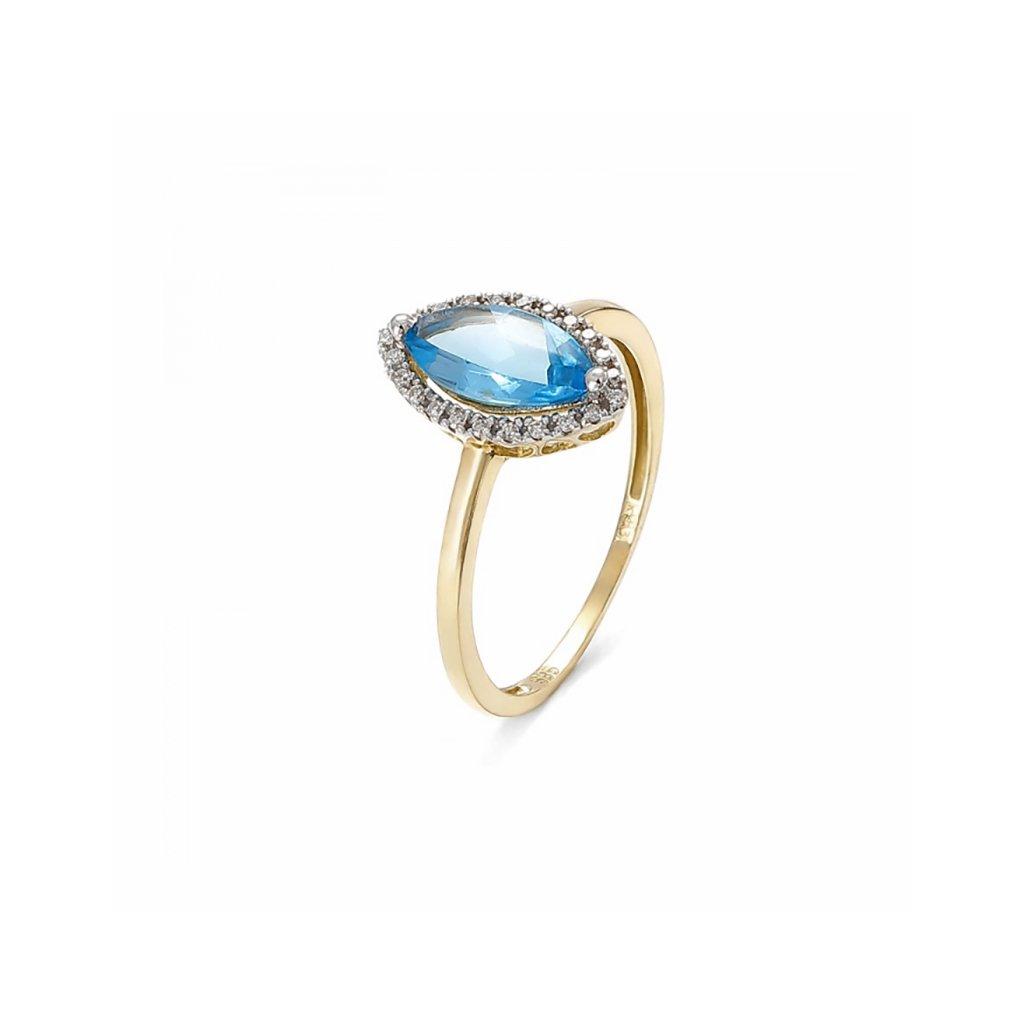 Zlatý prsteň s topásom a diamantami 1,04 ct