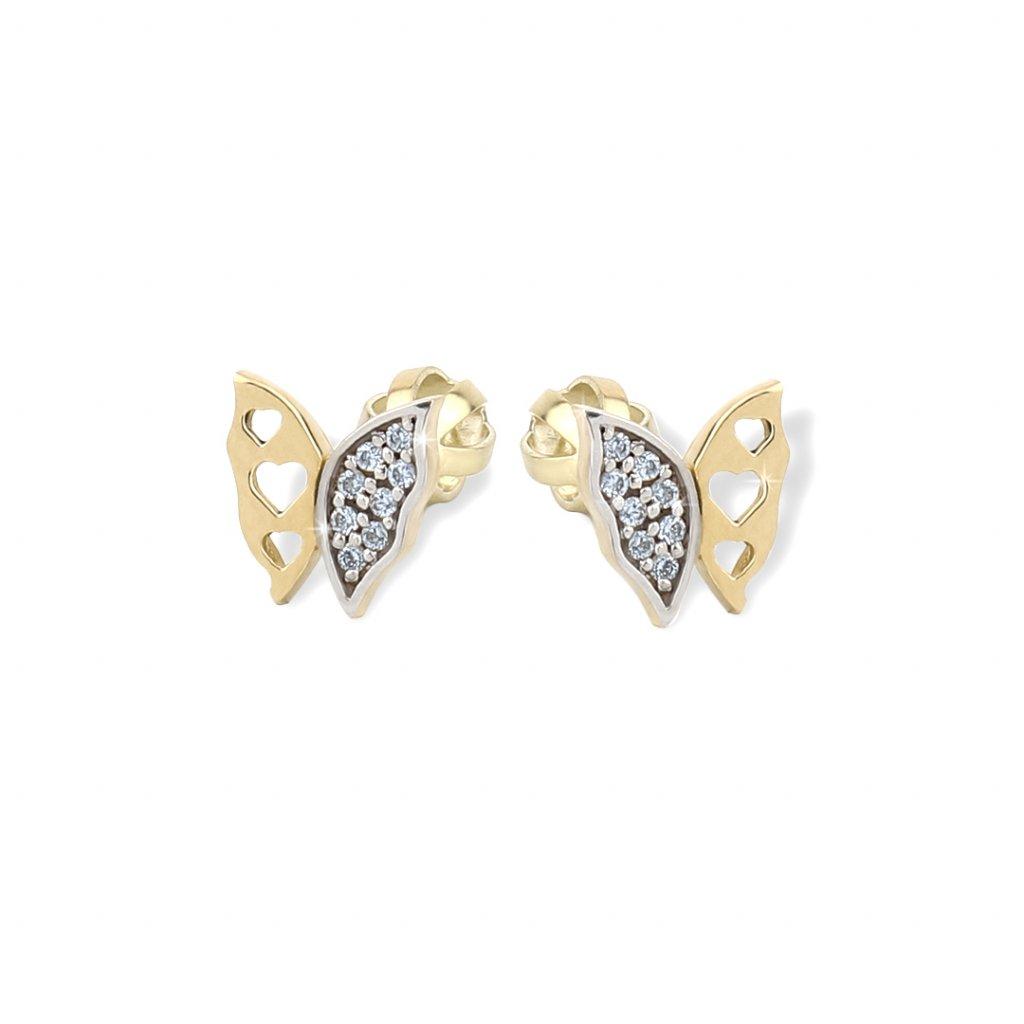 Zlaté náušnice motýliky 8134