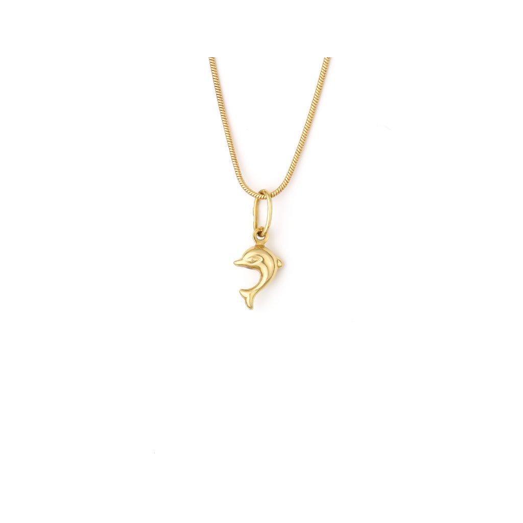 Zlatý prívesok delfín 7392